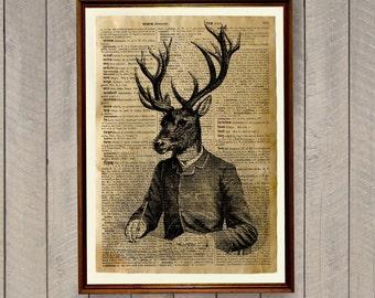 Deer print Victorian poster Cabin decor Animal illustration  WA621