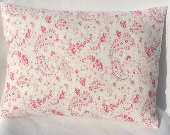Cushion Cover in Peony and Sage Pink Paisley  Rose Dots
