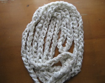 Champagne crocheted braid infinity scarf. Ready to ship!!