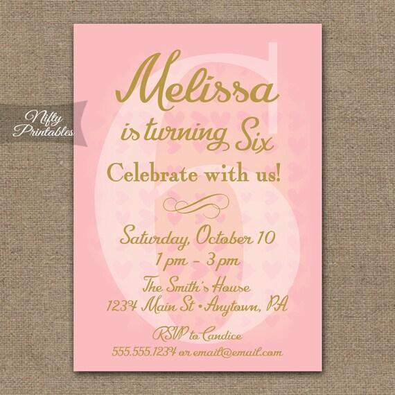 6th Birthday Invitations Pink Gold Printable Sixth Birthday – 6th Birthday Invitations