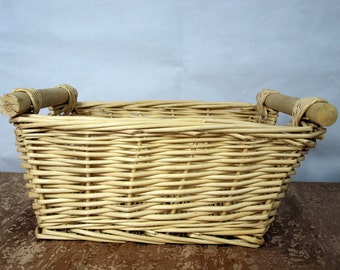 basket, woven, straw, wooden handles, storage