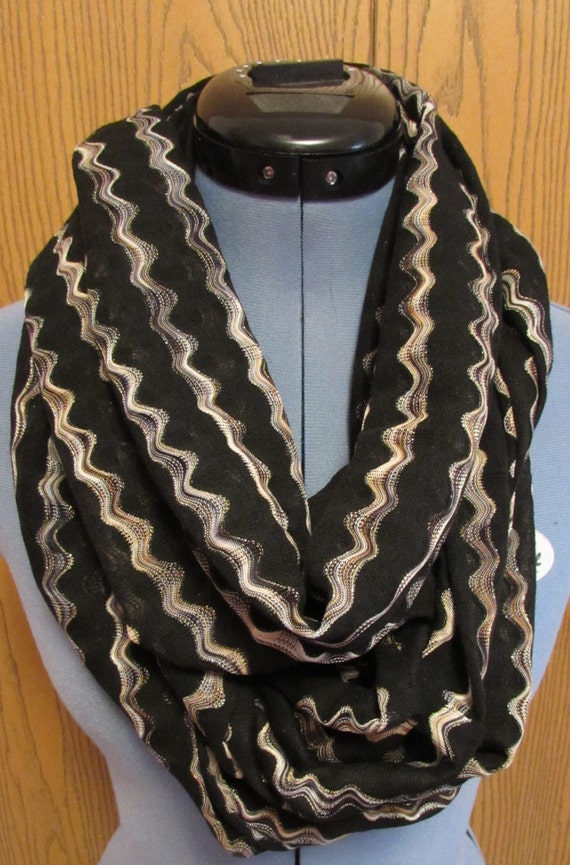 sale womens black and gold infinity scarf by