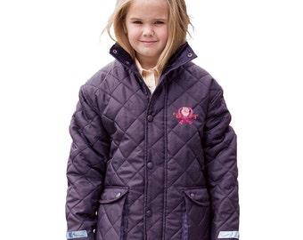 Childrens Padded Cheltenham Jacket with 'Girl Power' Embroidery in Pink