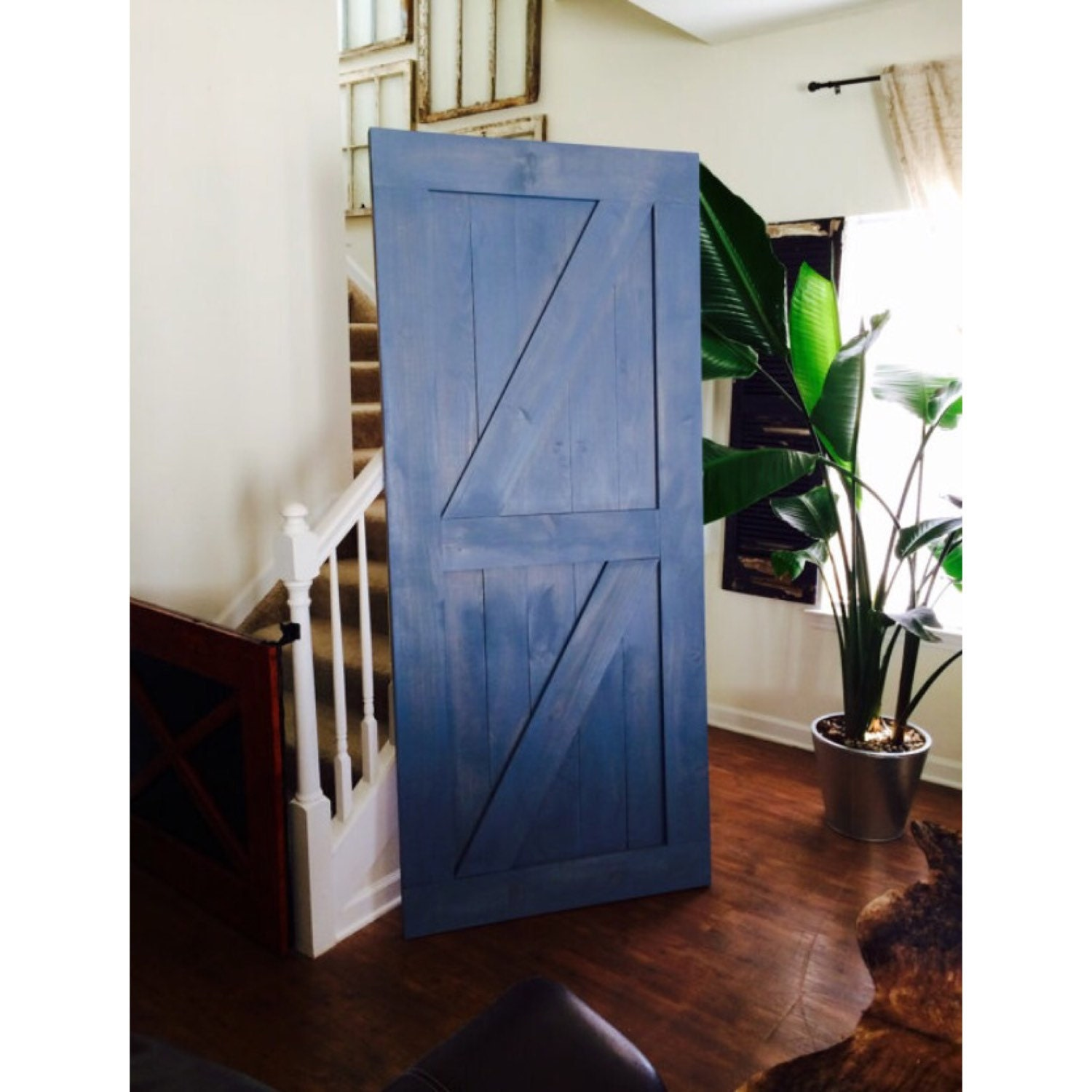 Custom made sliding barn door double z style provence blue for Custom sliding doors