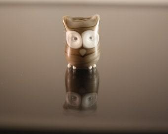 pendant, lampwork glass bead owl