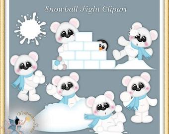 Winter Polar Bear Snowball Fight Clipart
