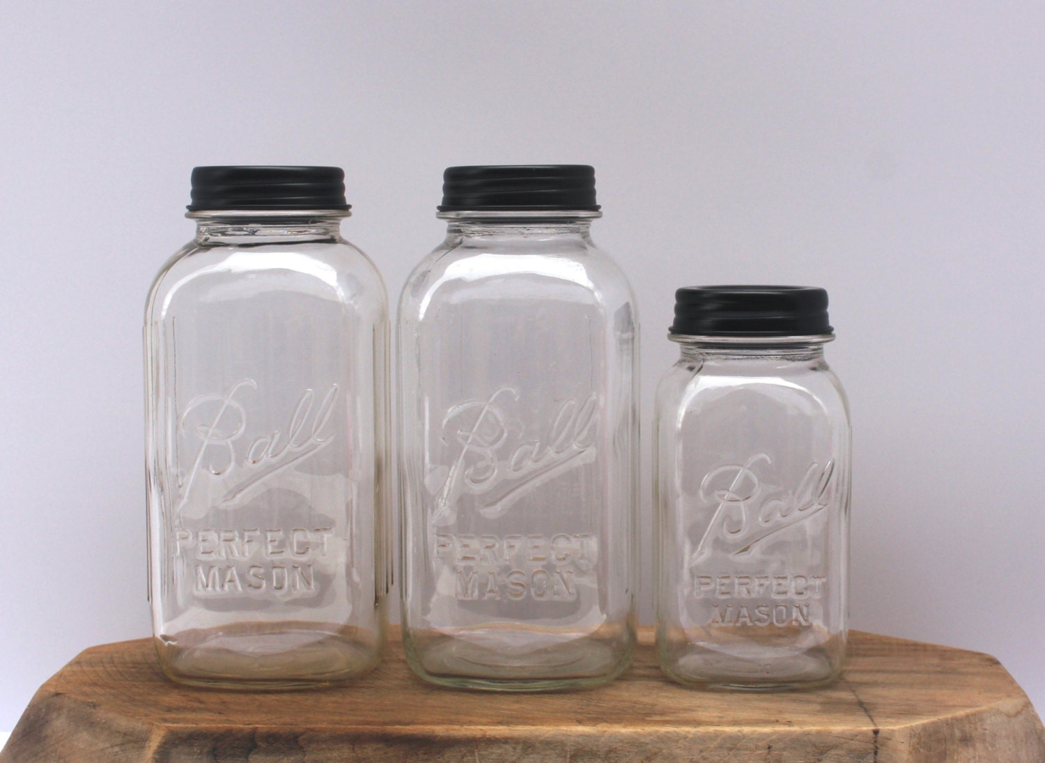 vintage mason jar clear kitchen canister set by hereonthefarm