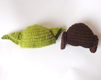Star Wars Hat Set 2pcs - Princess Leia And Yoda ed Hat For Boy Newborn to Adult Photo Prop Halloween / Cosplay Wig