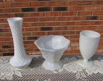 Milk Glass Collection ~ Group of 3 Pieces~Vases ~Pedestal Bowl ~ Cottage Chic Trio ~ Bridal Shower Décor ~ Wedding Décor ~Hobnail Milk Glass