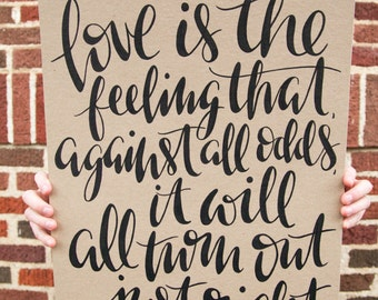 Custom Hand-Lettered Calligraphy Quote Print 16x20