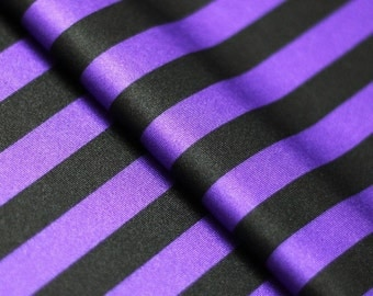 5 Yard/5 Meter Stretch Fabric - Stripe  Print, Purple and Black Striped Four way Stretch Spandex Fabric Item# RXPN-1/2-STRIP