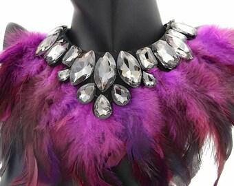 Pink Petiz Feather Statement Bib Necklace