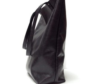 Black leather tote bag // Simple market tote bag // black distressed leather