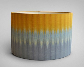 Ikat Drum Lampshade - Grey Ochre - By Ptolemy Mann