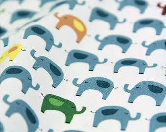 Oxford Cotton Fabric Elephant Blue By The Yard