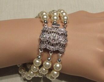 Victorian Sytle Triple Strand Crystal Cream Swarovski Pearl Bracelet/ Handmade/ Handcrafted/ Bridal