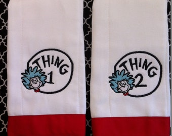 Thing 1 and thing 2 burp cloths
