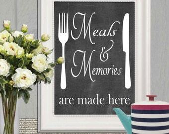 Kitchen decor print Chalkboard kitchen quote printable Kitchen wall art Black white kitchen poster print Meals and memories 11x14 5x7 8x10