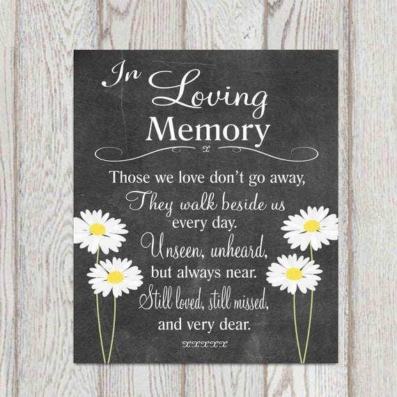 Memorial Table In Loving Memory Printable Wedding Memorial