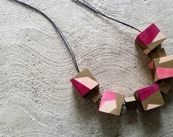 Pink and gold wooden cube necklace
