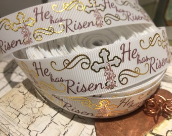 "7/8"" He Has Risen Easter Cross on White Grosgrain Ribbon sold by the yard"