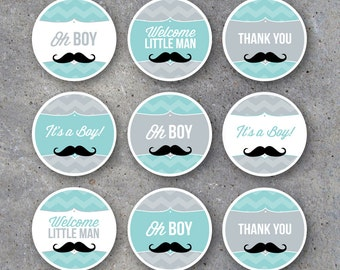"""Little Man Baby Shower Tags & Cupcake Toppers – Instant Download – 2"""" Circles for Cupcake Toppers, Gift Tags, Candles, Treats + Party Favors"""