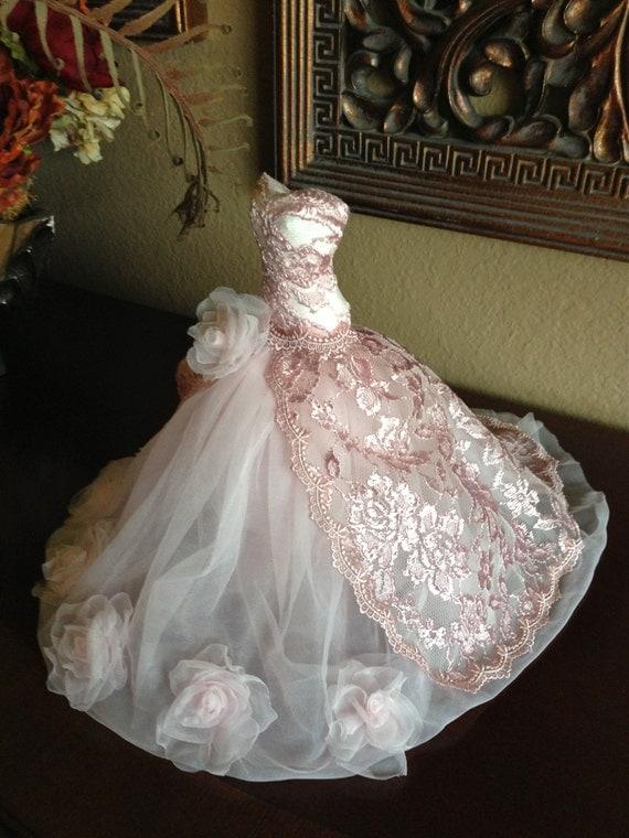 Paper Mache Doll Art Dress Pink Dress Pink Lace Wedding