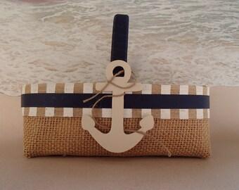Navy Blue Nautical Flower Girl Basket - Anchor - Royal - Beach Wedding  - Tropical - Hawaii - Burlap Shabby Chic Flowergirl Pillow