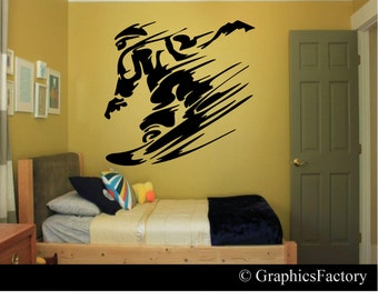 Snowboarder Wall Decal - Snowboarder Decal - Snowboarder Kids Room - Snowboarding