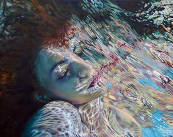 "ART PRINT ""Flux"" Underwater Portrait Painting Signed 18x24 or 24x32"