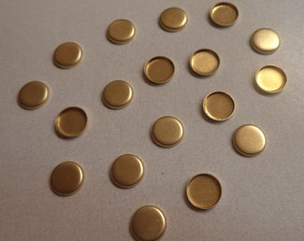 6mm round brass high wall bezel cup setting closed back 18 pcs per lot l