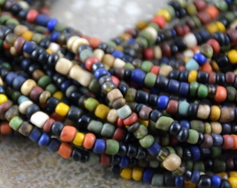 Small Mixed Color Glass Seed Beads,Indonesian Glass Beads,Small Glass Beads,Seed Beads, Lampwork Beads,Small Spacer Beads,String 44 inches