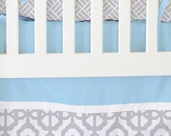 15% OFF SALE- Blue and Gray Mod Lattice Bumperless Crib Bedding | 2 or 3 Piece Set Boy Bumperless Bedding