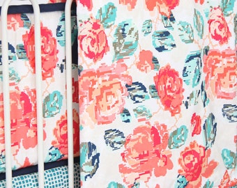 Everlys Garden Baby Blanket   Coral and Navy Crib Blanket