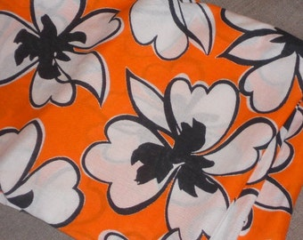 Vintage cotton orange white black floral organic cotton for sewing, clothing, curtain