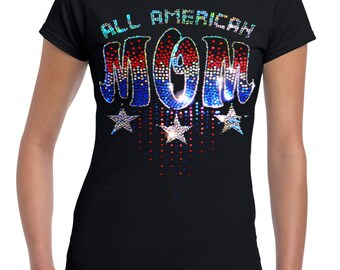 All American Mom Sequin T-Shirt | Patriotic Mom Tees | U.S. Custom Ink