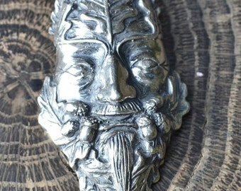 OAK Greenman Sterling SILVER PENDANT Necklace Pagan Green Man Greenmen Jack in the Green Pagan God Cernunnos Celtic Celts Jewel Jewelry