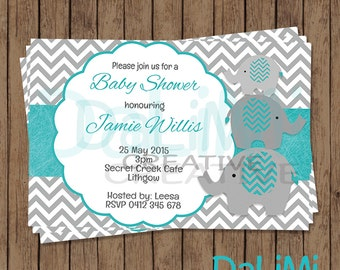 Baby Shower Invitation - Elephant Baby Shower Invitation - Teal and Grey invitation - Printable Invitation - Personalised - Digital File!