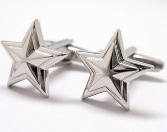 Shiny Silver Prismatic Star Cufflinks Cuff Links