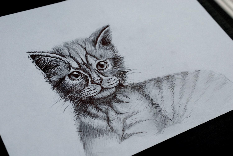 Faits la main le dessin d 39 un chat - Dessin de la main ...