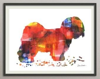 lhasa apso dog art print watercolor print  silhouette painting print poster wall art decor drawing, dog wall art silhouette