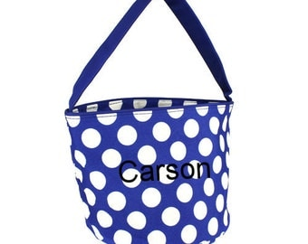 Blue White Dots Halloween Trick or Treat Toy Easter Basket Bucket Tote Bag Multi Purpose Storage Personalized Custom Embroidered gift