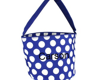 SALE Blue White Dots Halloween Trick or Treat Toy Easter Basket Bucket Tote Bag Multi Purpose Storage Personalized Custom Embroidered gift