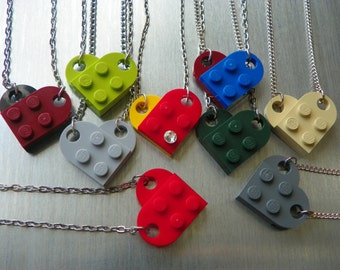Brick Valentine heart necklace - with optional crystal!