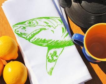 Cotton Napkin - Recycled Cotton Eco Friendly Cloth Napkins - Screen Printed Green Shark Dinner Party Napkins - Handmade