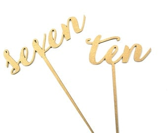 Gold Calligraphy Table Numbers Carolyna Font, 3D Laser Cut