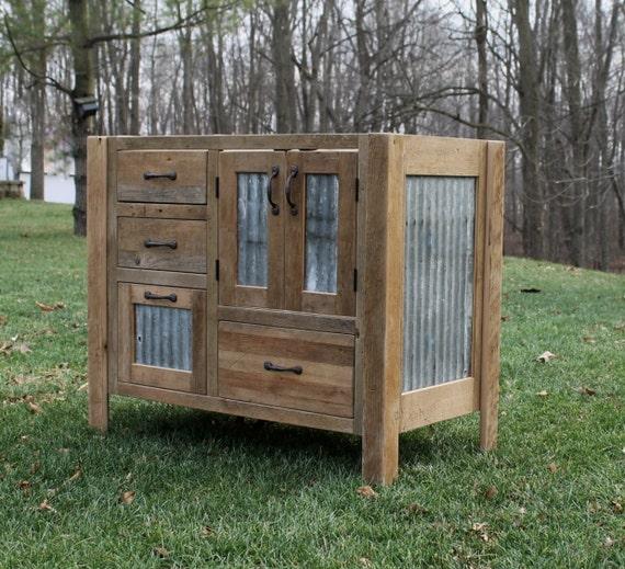 Rustic Vanity 42 Reclaimed Barn Wood WBarn