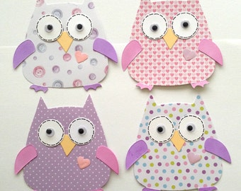 4 Large Baby Girl assembled Owl Card Toppers for Card making Scrapbooking Paper craft project