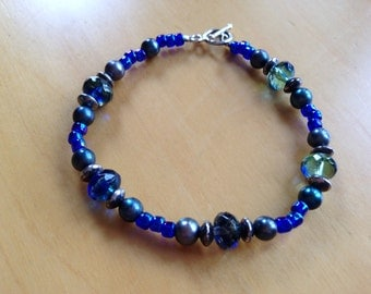 Blue Green bracelet with silver toggle clasp