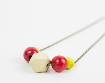 Eco friendly wood necklace Long necklace Minimalist jewelry Handpainted jewelry Red and yellow necklace